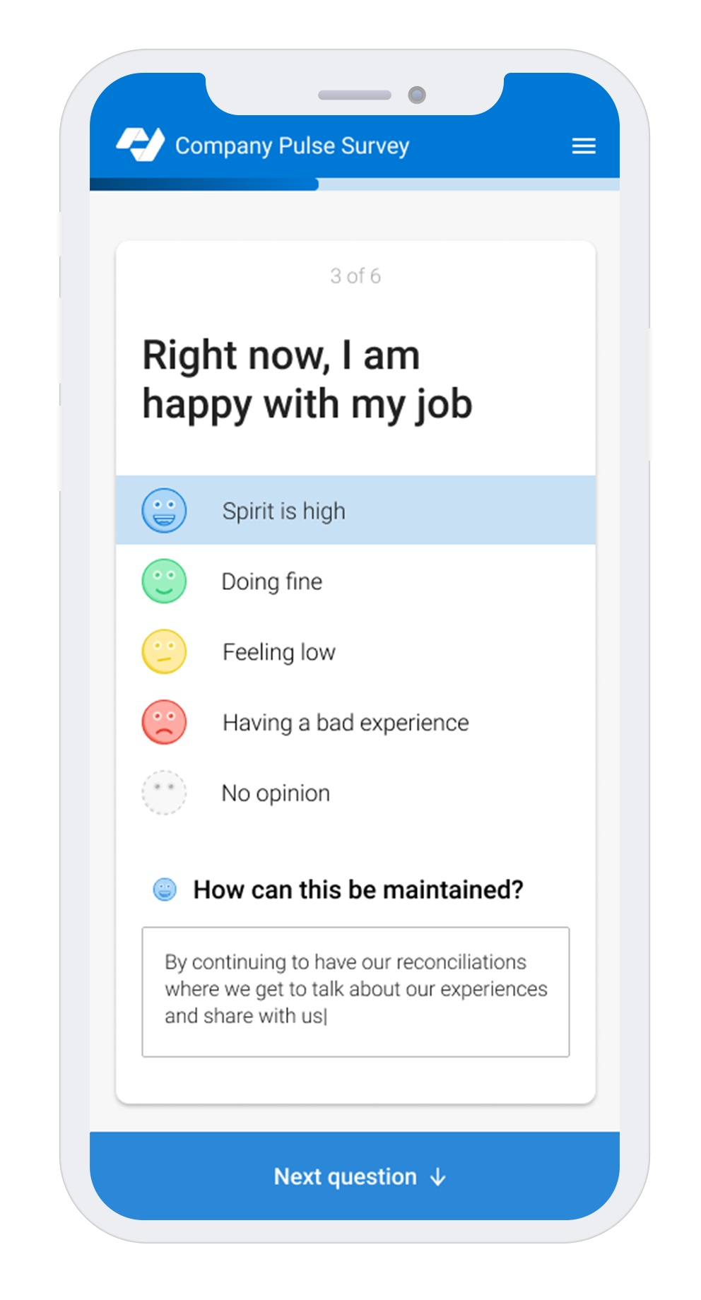 English version of Populum pulse survey on an iphone